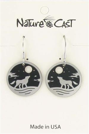 Earring dangle howling wolf round disc LARGE