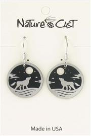 Earring dangle howling wolf round disc THUMBNAIL