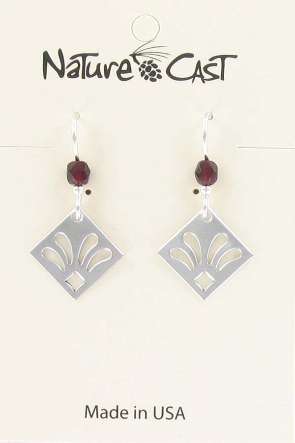 Earring dangle diamond shape with cut outs THUMBNAIL