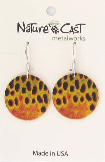 Earring dangle brown trout scales LARGE