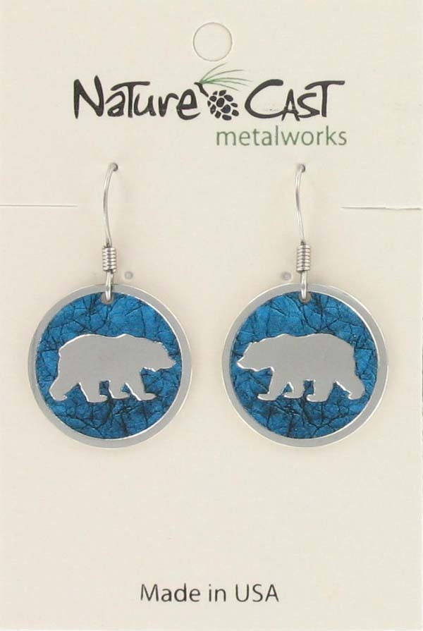 Earring dangle round bear with turquoise background