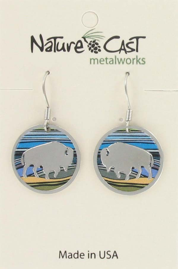 Earring dangle round bison with colorful landscape