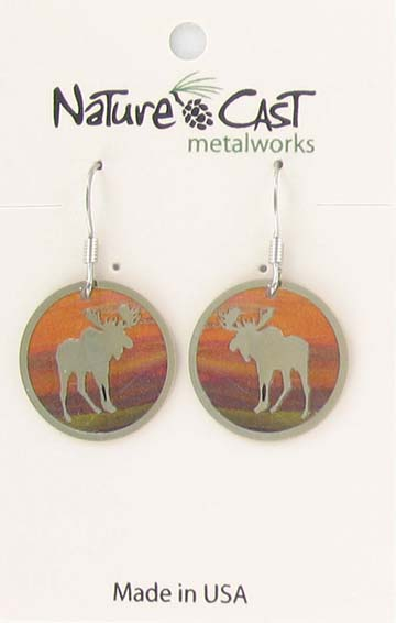 Earring dangle round moose with colorful background THUMBNAIL