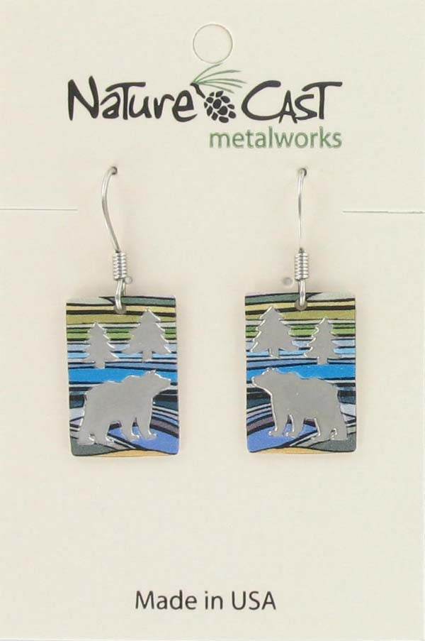 Earring dangle rectangle with bear and colorful landscape LARGE