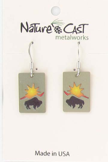 Earring dangle bison with sun color