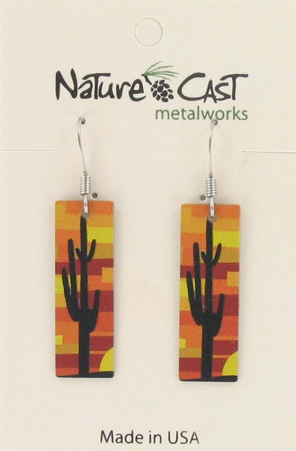 Earring dangle cactus on rectangle