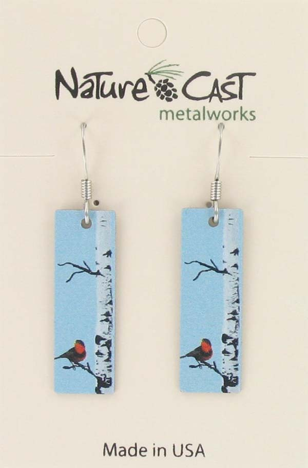 Earring dangle bird on birch rectangle
