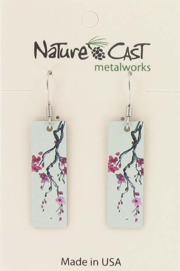 Earring dangle cherry blossom rectangle