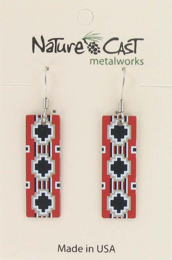 Earring dangle Navajo blanket rectangle THUMBNAIL