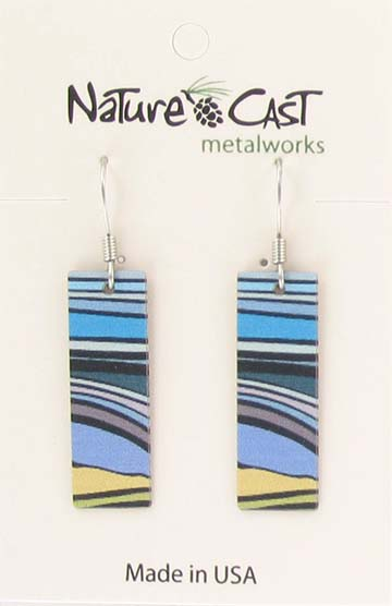 Earring dangle landscape stripes rectangle
