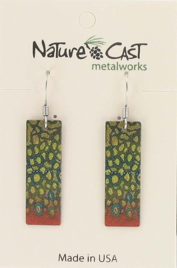 Earring dangle brook trout pattern LARGE