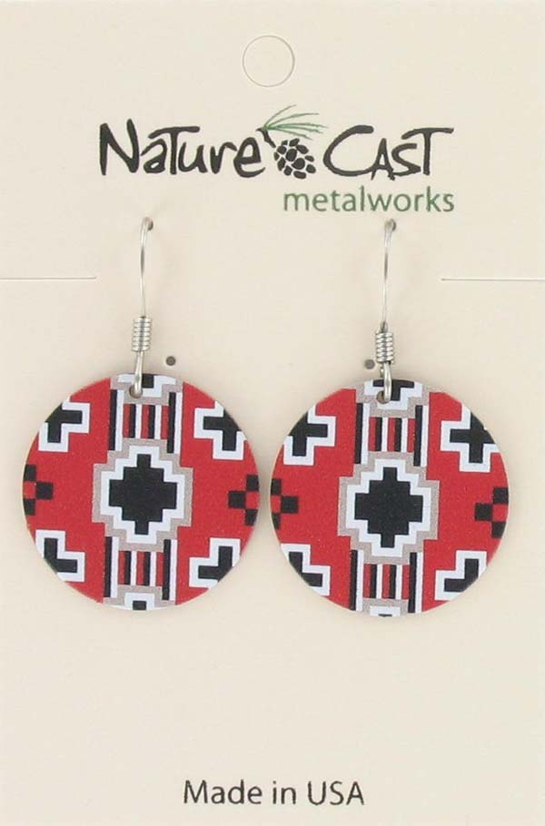 Earring dangle round Navajo blanket