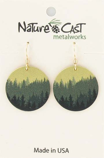 Earring dangle round layered trees gold background LARGE