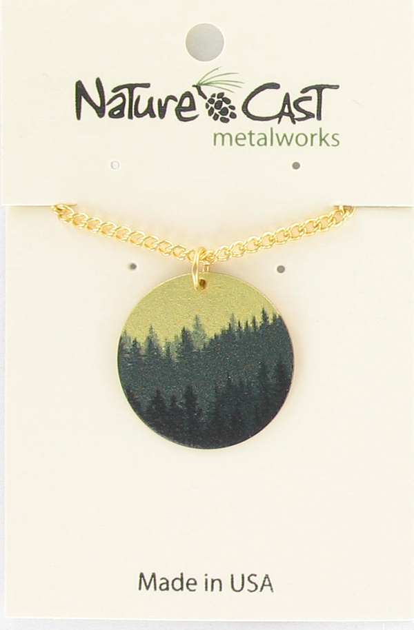 "Pendant layered trees gold w/ 18"" chain"