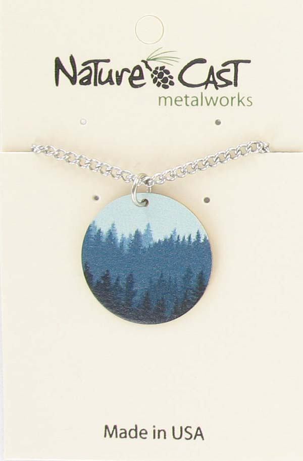 "Pendant round layered trees w / 18"" chain"