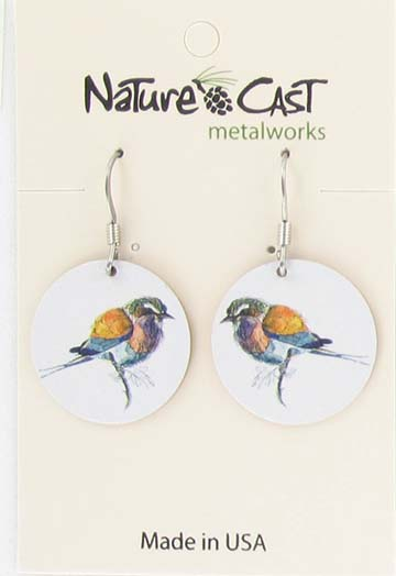 Earring dangle colorful bird on white THUMBNAIL