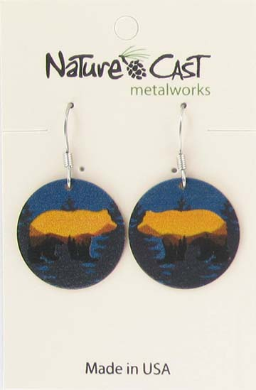 Earring dangle bear landscape on blue disc