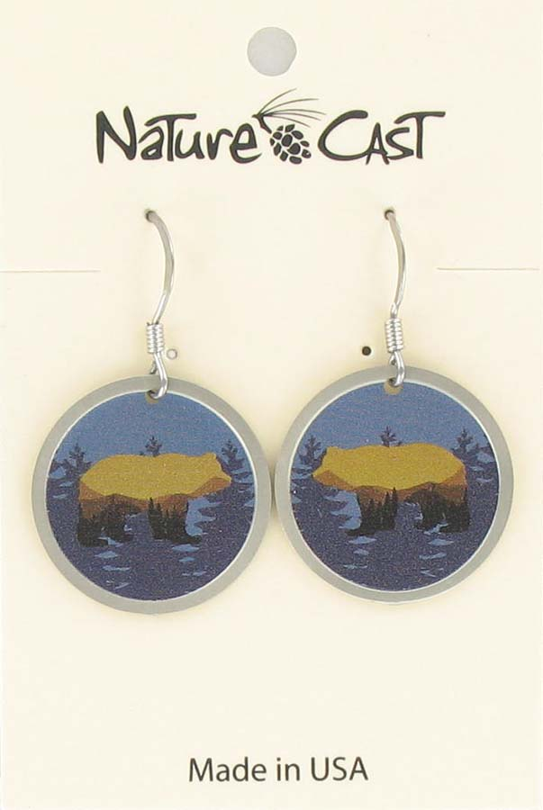 Earring dangle bear landscape on blue disc THUMBNAIL