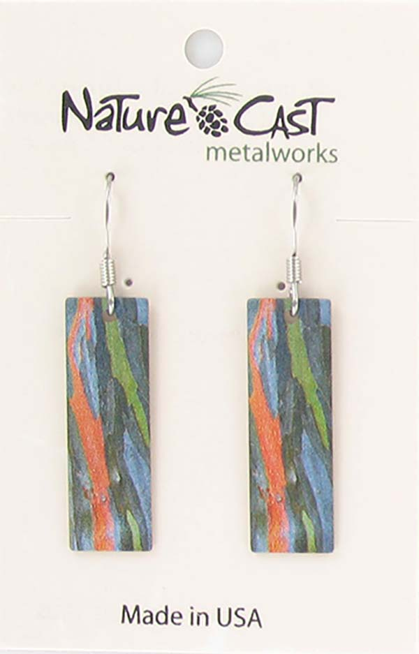 Earring dangle colorful bark on rectangle