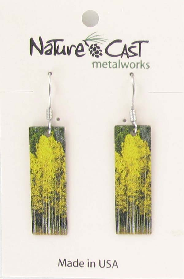 Earring dangle aspen tree cluster on rectangle