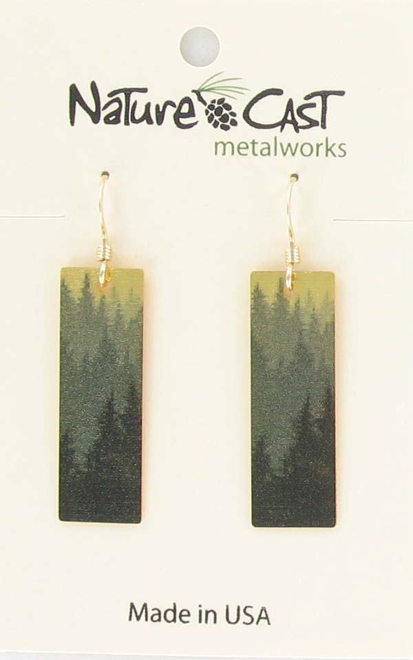 Earring dangle gold layered tree rectangle