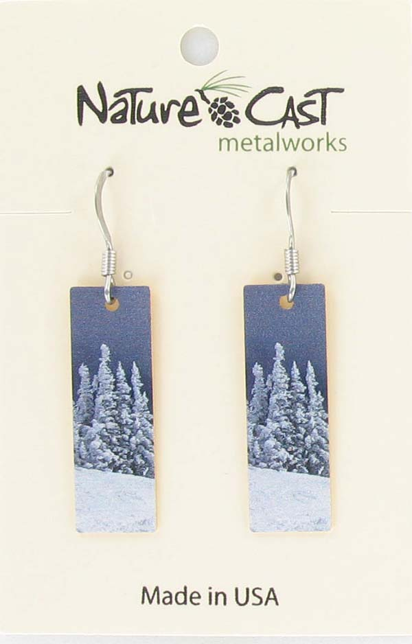 Earring dangle snowy trees