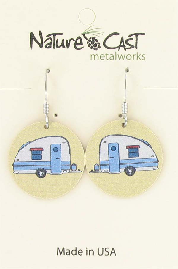 Earring dangle round vintage camper