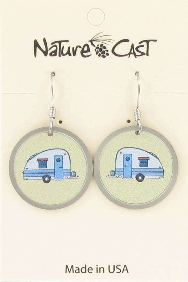Earring dangle round vintage camper LARGE