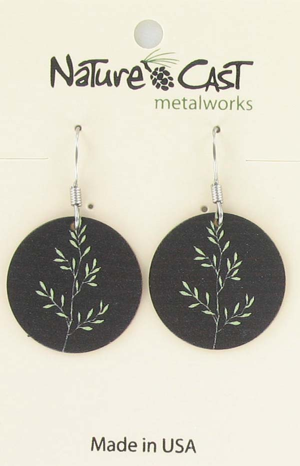 Earring dangle green sprig on background THUMBNAIL