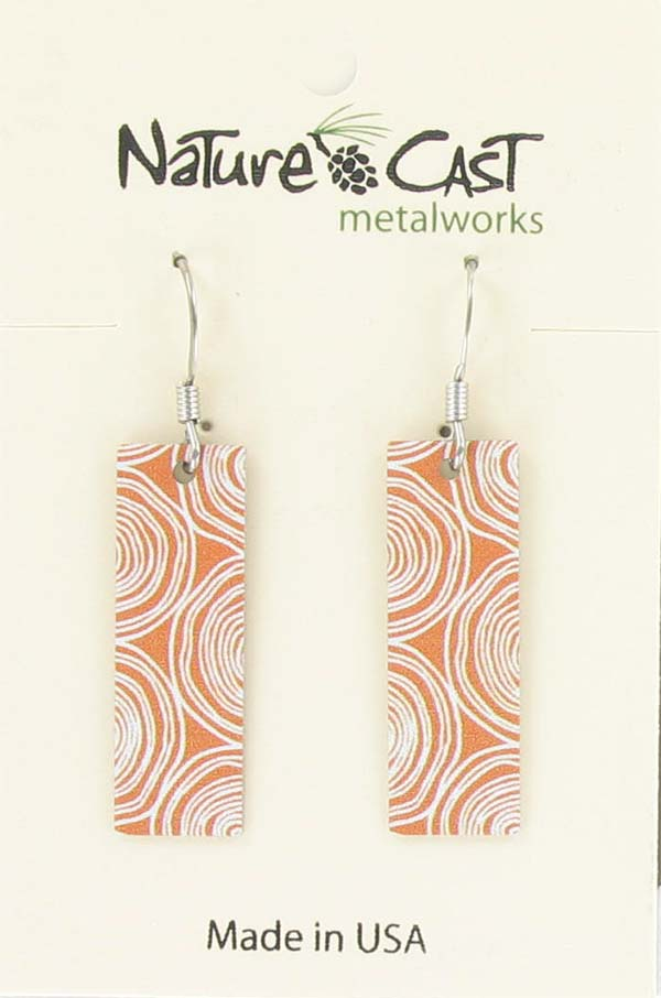 Earring dangle wood grain stumps on orange rectangle