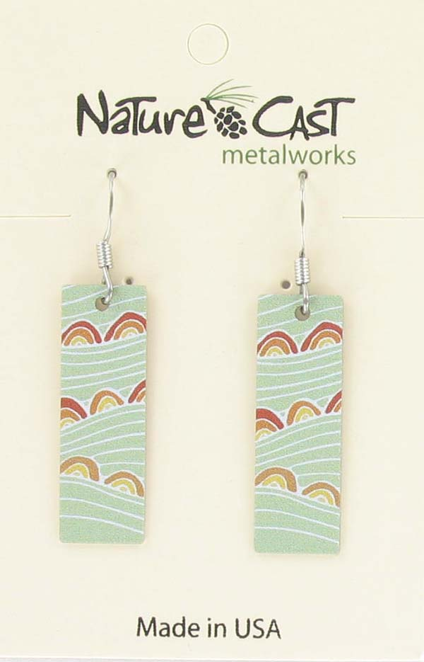 Earring dangle rectangle green fields