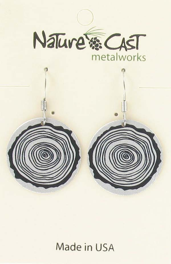 Earring dangle round tree stump silver_THUMBNAIL