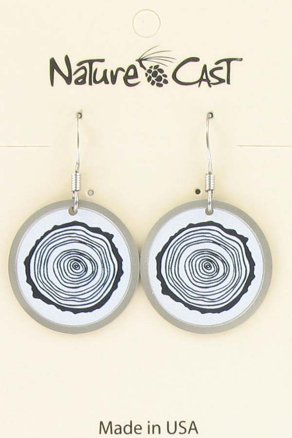 Earring dangle round tree stump silver THUMBNAIL