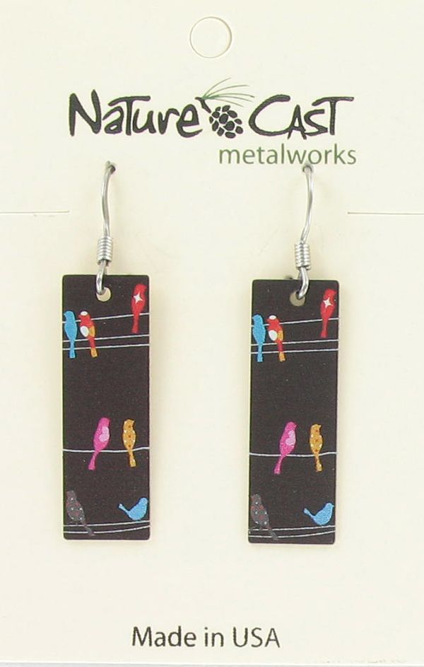 Earring dangle birds on wire THUMBNAIL