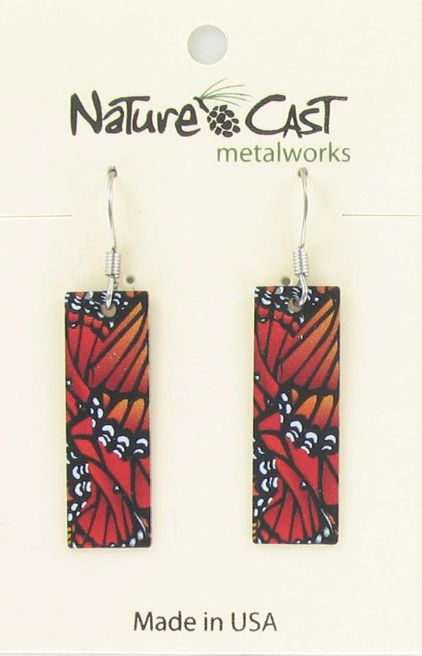 Earring dangle monarch butterfly wings