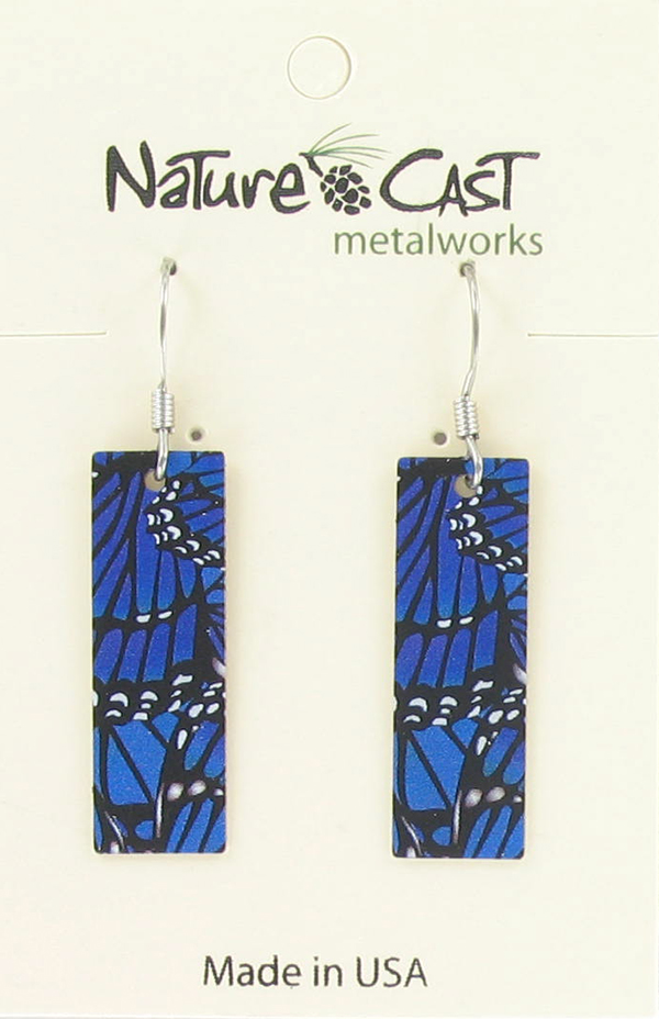 Earring dangle blue morpho butterfly wings THUMBNAIL