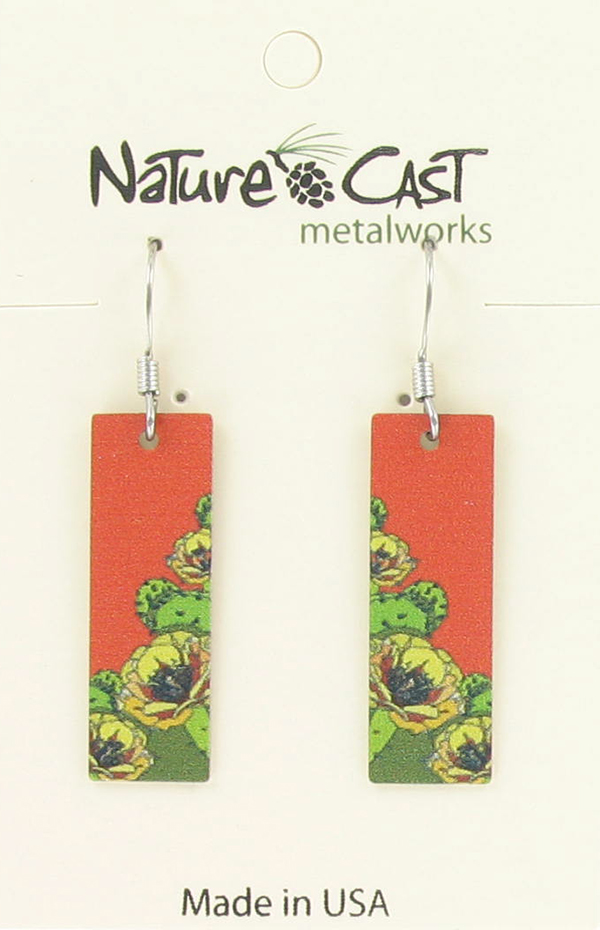 Earring dangle prickly pear cactus rectangle