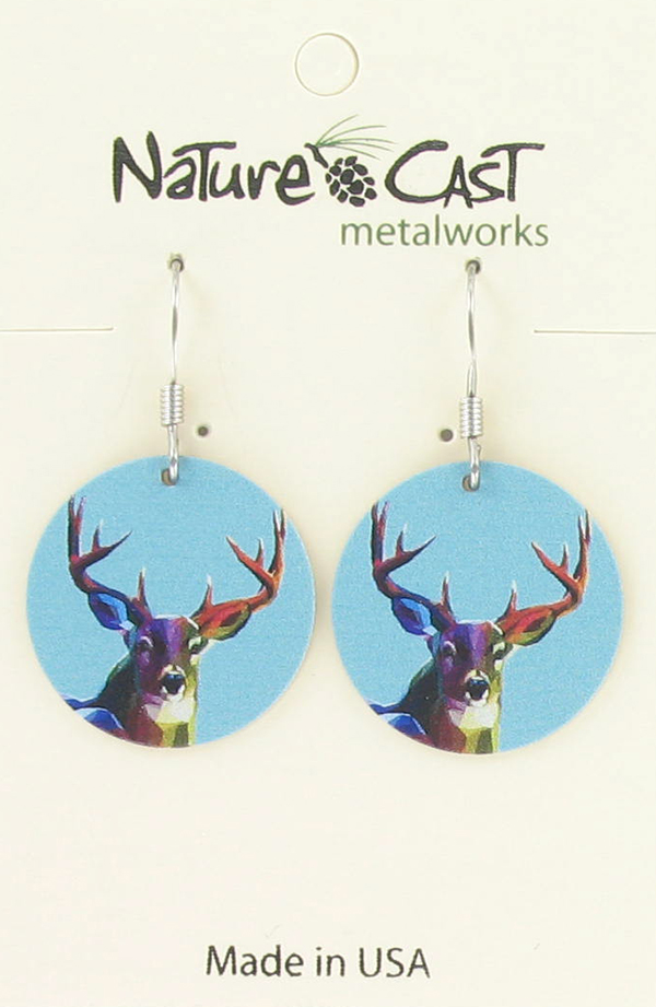 Earring dangle colorful deer THUMBNAIL