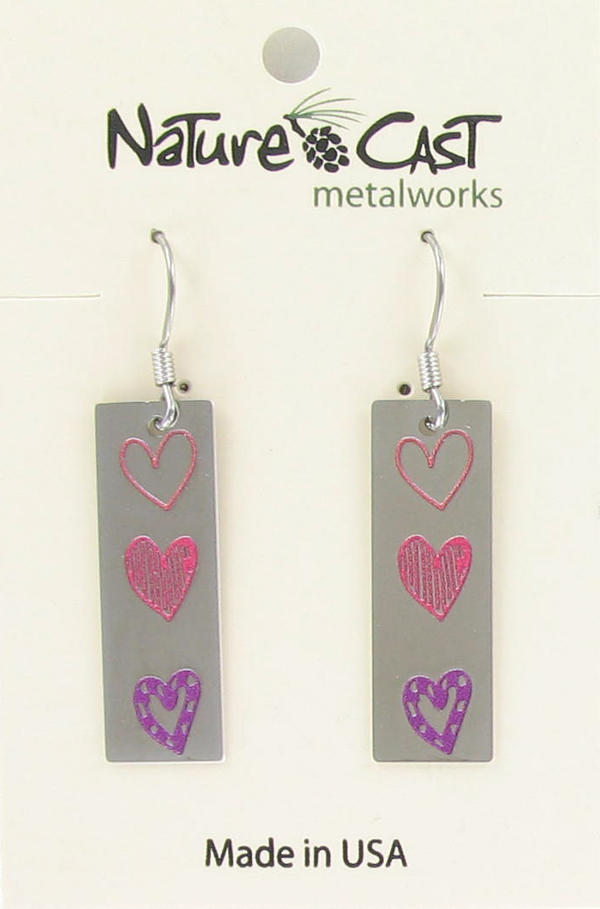 Earring dangle rectangle triple hearts THUMBNAIL
