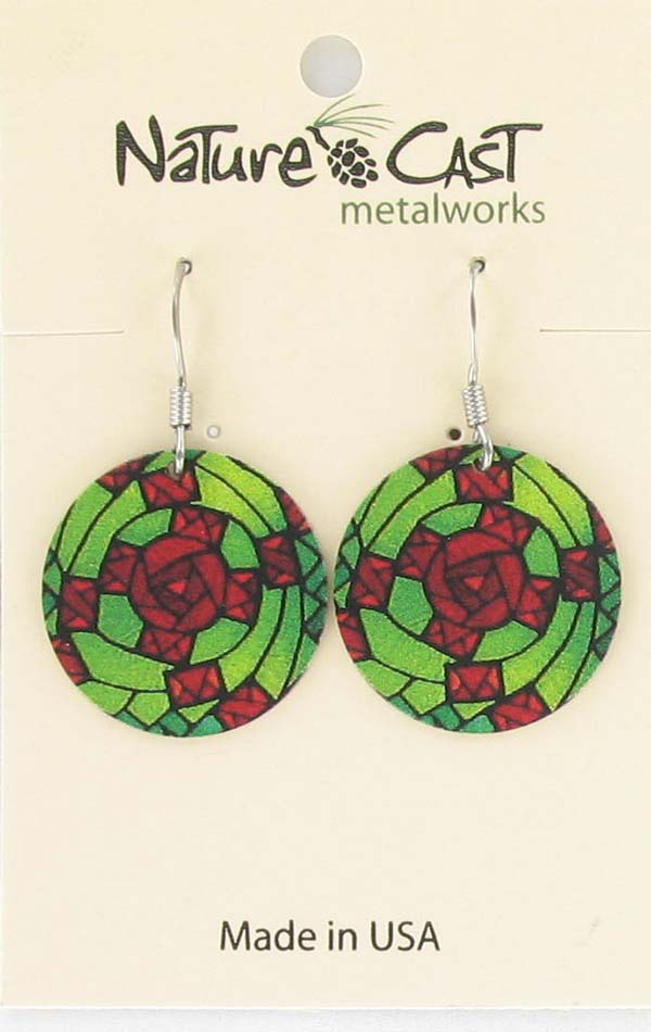 Earring dangle stained glass green and red LARGE
