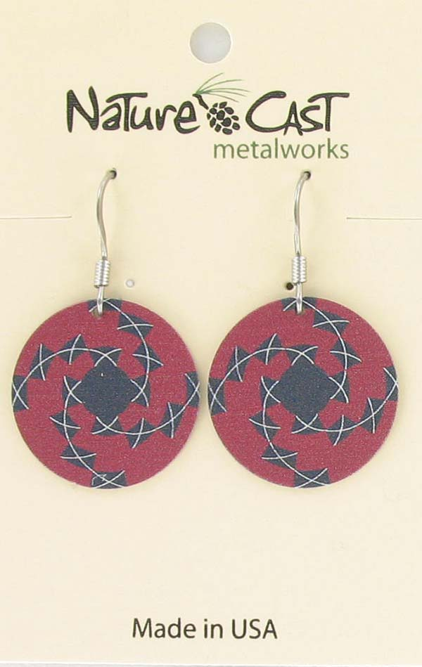Earring dangle red and black tile THUMBNAIL