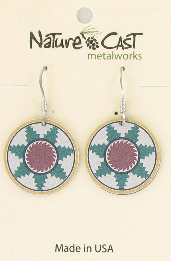 Earring dangle green and white tile