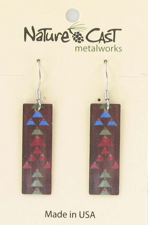 Earring dangle Majestic paint on wood 2 THUMBNAIL