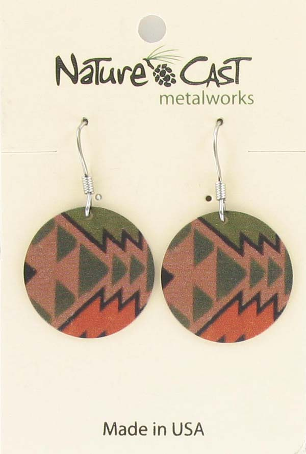Earring dangle round Majestic pattern THUMBNAIL