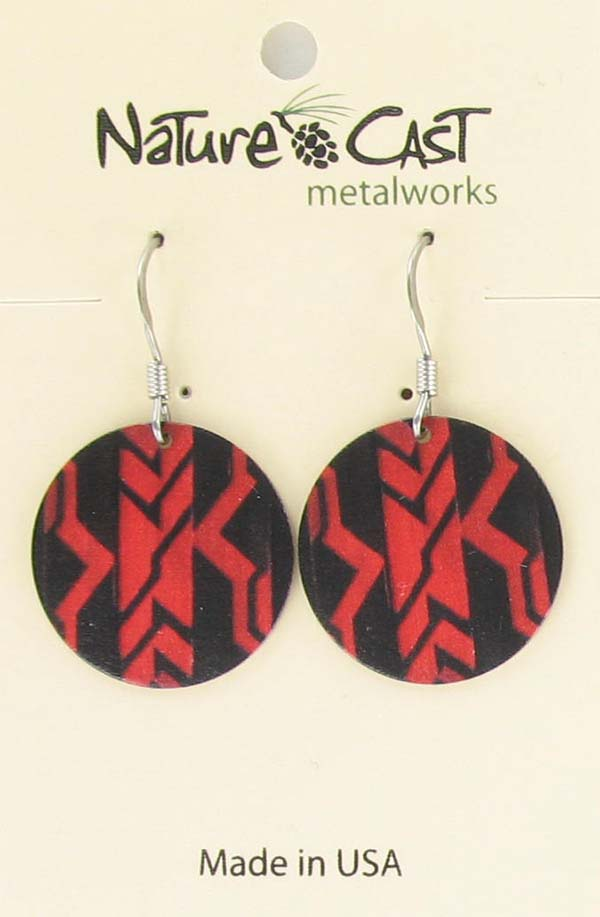 Earring dangle round black and red Majestic beam