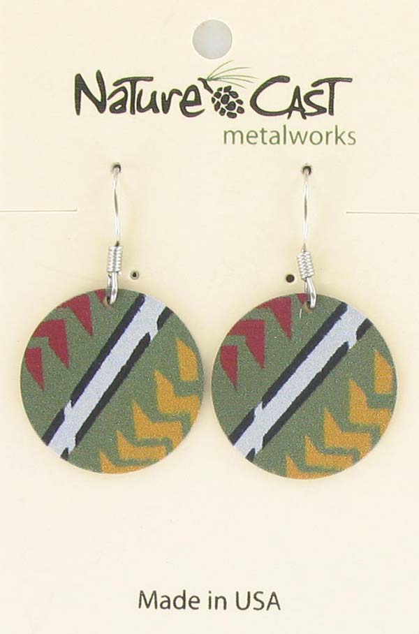 Earring dangle round disc red, green, yellow Majestic beam THUMBNAIL