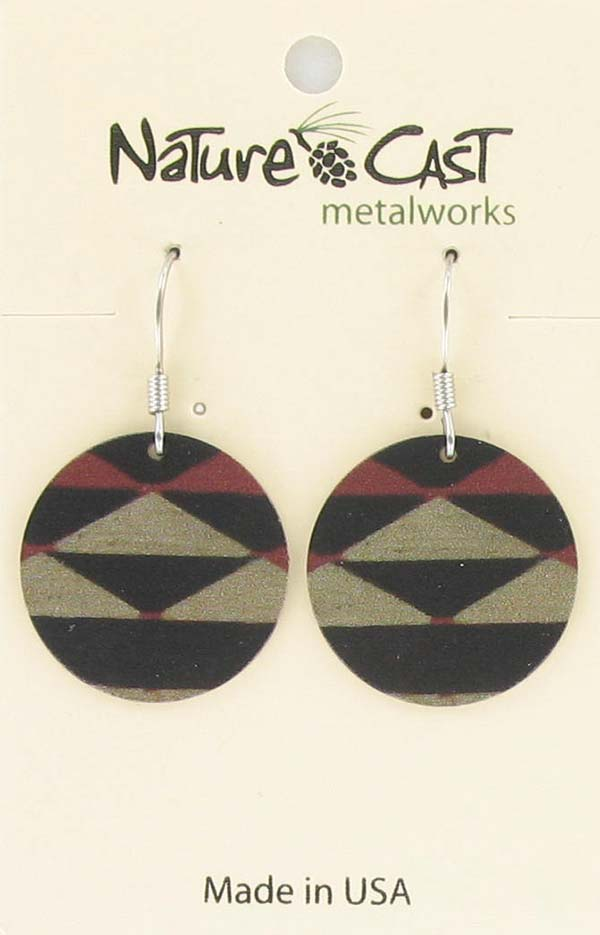 Earring dangle round disc black, beige, rust Majestic beam
