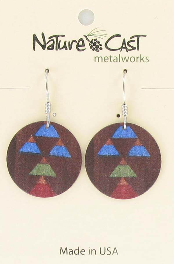 Earring dangle round disc painted wood Majestic