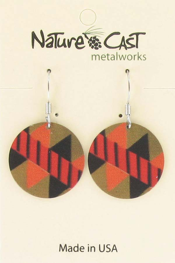 Earring dangle round disc multi color Majestic beam