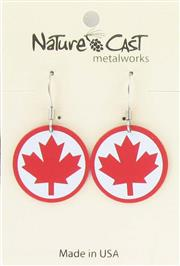 Earring dangle red maple leaf with border on white
